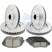 Front Rear Brake Rotors And Ceramic Pads For 2003 2004 G35 2005 350z Drill Slotted