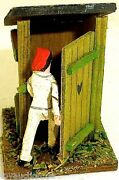 Outhouse Country Toilet Building Figurine With Red Hat Wood Preiser 187 H0 Å