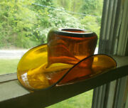 Open Pontil 1800s Amber Glasshouse Whimsey Free Blown Glass Hat Toothpick Holder