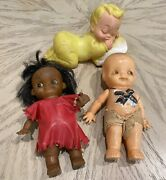 Lot Of Three Antique And Vintage Small Baby Toys Dolls Plastic Rubber