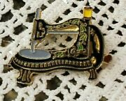 Vintage Singer Style Sewing Machine Pin Brooch Very Small Painted Metal