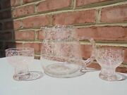 Vintage Mcm Pink Spaghetti String Martini Cocktail Pitcher And 2 Tumblers Glasses