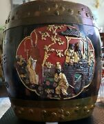 Rare Signed Chinese Qing Shengzu Hand Made Hand Carved Wood Rice Barrel