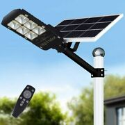 300w Led Solar Street Lights Outdoor Lamp, Dusk To Dawn Pole Light With Remote