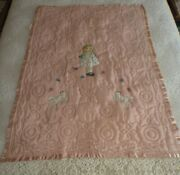 Antique Vintage Mary Had A Lamb Pink Quilt Baby Hand Made Appliqued Embroidery
