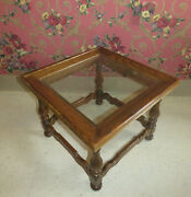 Ethan Allen Royal Charter Accent Cocktail Table Oak And Glass