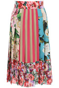 New Dolce And Gabbana Patchwork Pleated Skirt F4b2it Gdy67 Variante Abbinata Authe
