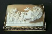 Antique Large Mythological Baroque Chariot Scene Apollo 10k Cameo Brooch