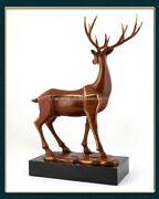 21and039and039 Classical Bronze Crafts Home Decorate Statue Good Fortune Wealth Deer