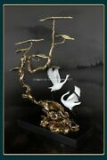 24and039and039 Classical Bronze Crafts Home Decorate Statue Good Fortune Pair Birds Crane