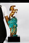 29and039and039 Classical Bronze Crafts Home Decorate Statue Chinese Cabbage Wealth Horse