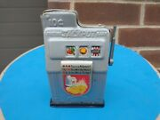 Vintage Tin Toy 10¢ Fortune Jackpot Coin Bank Slot Machine Working Japan