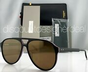 Thom Browne Aviator Sunglasses Tbs408-63-01 Black Frame Gold Mirror Lens 63mm Xl