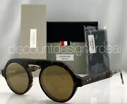 Thom Browne Round Sunglasses Tbs413-52-02 Tortoise Brown Gold Flash Lens 52mm