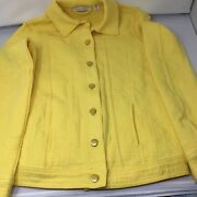 Isaac Mizrahi Quilted Button Front Knit Jacket-yellow-xxs-i-3