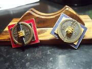 Two Pair Chinese Pin Backs - Coins Medals One Red - One Blue Maverick