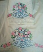 Vintage Hand-embroidered Double Cotton Sheet And Pillowcases For Elegant Bandb Guest