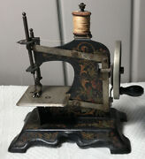 """Old Antique Toy Sewing Machine German Early 1900's Very Very Clean Decals 7"""""""