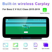 Car Gps Navigation 12.3 Stereo Android For Mercedes Benz C Glc V Class 2015-20