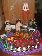 Lot 100 Mixed Vintage Plastic, Jewelry Bead Necklaces,bracelets And More