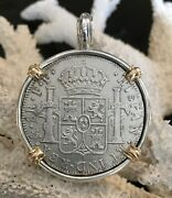 El Cazador Shipwreck Treasure Coin Pirate Ss Pendant With 14k Solid Authentic 8r