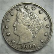 1900 Liberty V Nickel .... Very Decent High Xf To Lower Au Coin