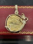 14kt Solid Gold Atocha Coin Pendant In 14kt Solid Gold Mermaid Bezel