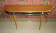 Ethan Allen Radius Sofa Console Tv Table Blond And Brushed Nickel Metal 12 9401