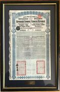 1913 China Bond Lung-tsing-u-hai Railway Andpound20 With Coupons Chinese Loan Framed