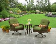 3-piece Green Patio Outdoor Bistro Table And Chairs Set Furniture Porch Deck