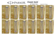 12 X Parker Classic Gold Stainless Steel Gold Trim Ballpoint Pen, Blue Ink