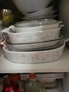 Vintage 1970and039s Corning Ware Casserole Dishes Set Of 3 - Pastel Bouquet