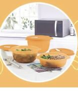 Tupperware Microwave Crystalwave Plus Round 3 Pc Set Steam Vent Stain Guard