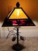 Beautiful 'leaves And Pinecones' Amber And Ruby Marble Slag Glass Table Lamp 22