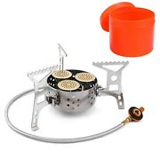 Outdoor Camping Gas Stove Burner 9000w High Power Three Core Head Set Windproof