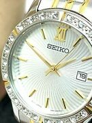 Seiko Womenand039s Watch Sur732 Stainless Steel Date Two Tone Silver Dial