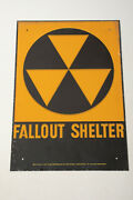 Fall Out Shelter Sign O4l Dept Of Defense No 2 Galvanized Steel 14 By 10 Orig