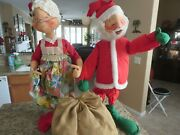 """2 Vintage 1970s Annalee 30"""" Mr And Mrs Santa Claus Christmas Dolls, Tags"""