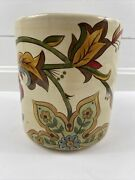 Pier 1 Imports Carynthum Floral Utensil Holder Hand Crafted Earthenware