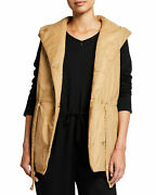 Nwt Eileen Fisher Honey Recycled Nylon Puffer Hooded Tunic Vest Petite Pm