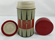 Vintage Thermos Bottle 6263 Pint Size Red Black Cream Wide Mouth Free Shipping
