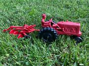 Vintage 1950's Red Auburn Rubber 572 Tractor W/ Plow Very Nice See Pics