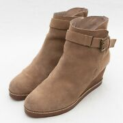 J. Jill Women's Tan Wedge Suede Ankle Boot With Wrap Buckle Strap Size 8
