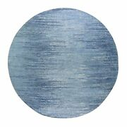 9and039x9and039 Blue Oceanic Zero Pile Pure Wool Ombre Design Round Handknotted Rug G66703