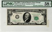 1963-a 10 Chicago Federal Reserve Note Butterfly Fold Error Pmg Au58 Epq Nice