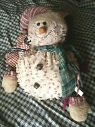 Primitive Grungy Snowman Doll Nubby Fabric Christmas Winter Holiday Deco