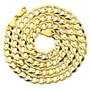 10k Yellow Gold 8mm Plain Solid Curb Cuban Necklace W/lobster Lock 18 To 30