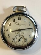 Biltmore By Ingraham Vintage Mechanical Wind Up Pocket Watch Doesn't Stay Runnin