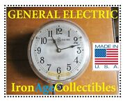 Antique General Electric Ge Type C-14 Heavy Glass Industrial Wall Clock Usa Made