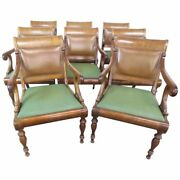 Rare Set 8 Smith And Watson English Regency Style Conference Office Arm Chairs